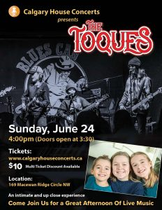 The Toques - Sunday June 24 2018 Calgary House Concerts
